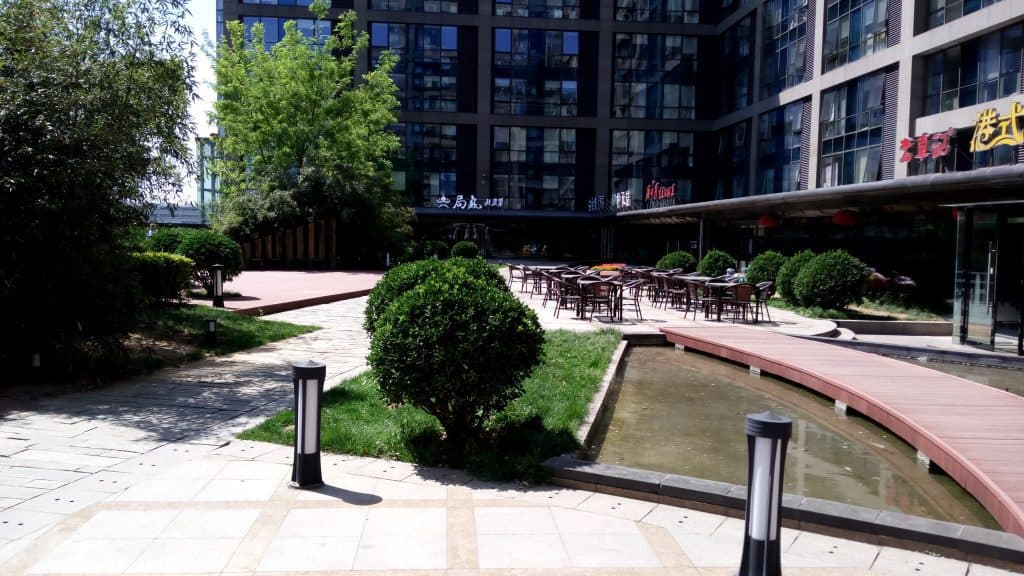 The 6th floor plaza facing the back of our office. Every establishment here is some type of restaurant.