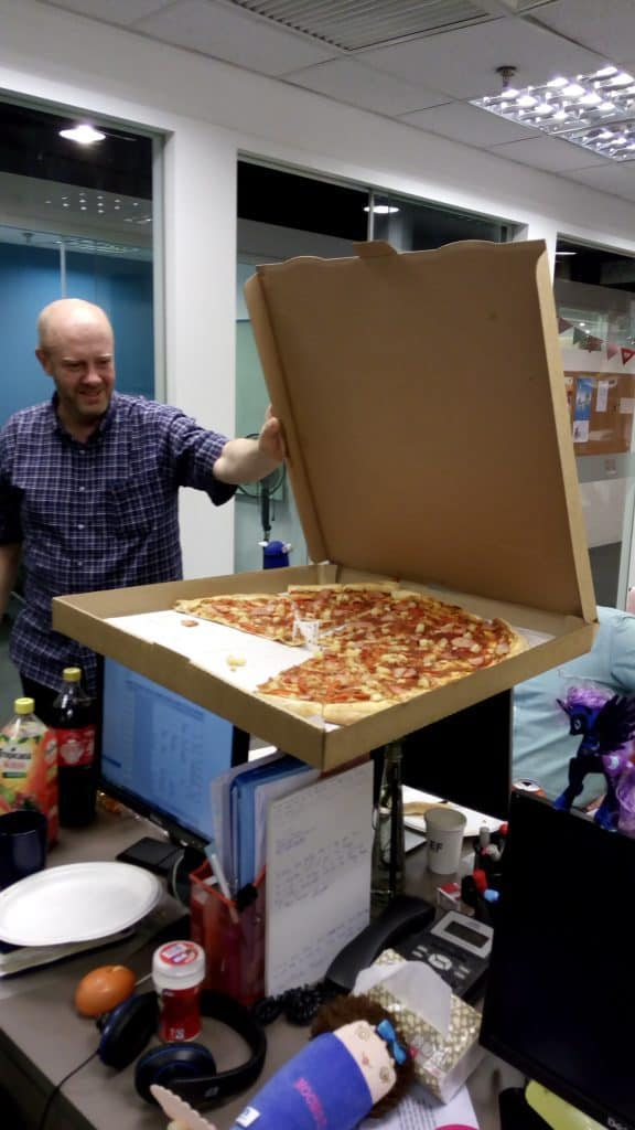 We had a going-away pizza party for a teacher who's leaving. Those are big pizzas!