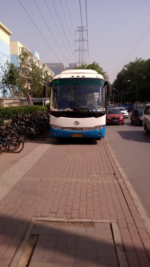 Walking to work the other day, I came across a bus, parked on the sidewalk. It's Beijing. You just accept these things as normal.