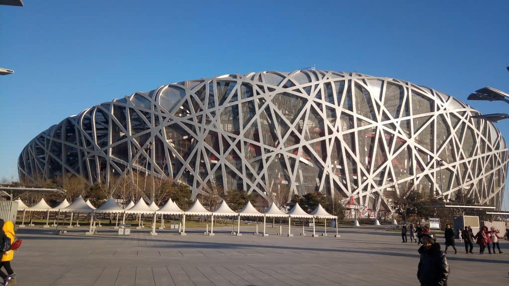 "A few days before the party, I went with Minnie to Olympic Park to see the ""Birdsnest"" stadium and take a five kilometer walk around the park."