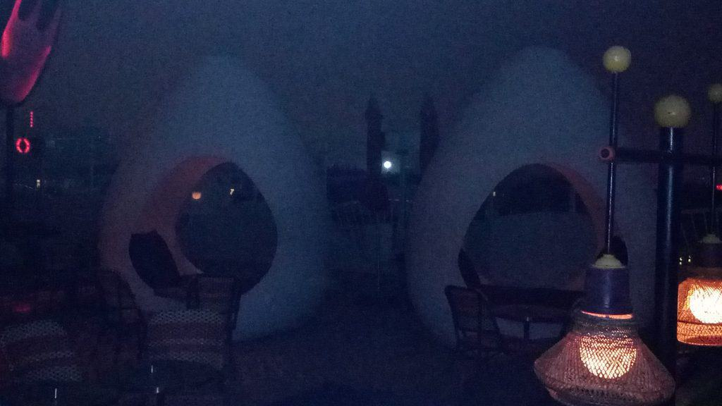Difficult to see but these are giant egg-like, cushioned seating for patrons.
