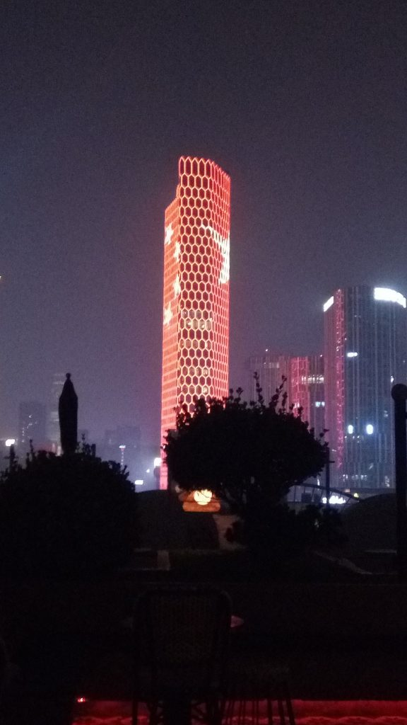 The Intercontinental Hotel as seen from Migas. Note it's lit up with the Chinese flag.