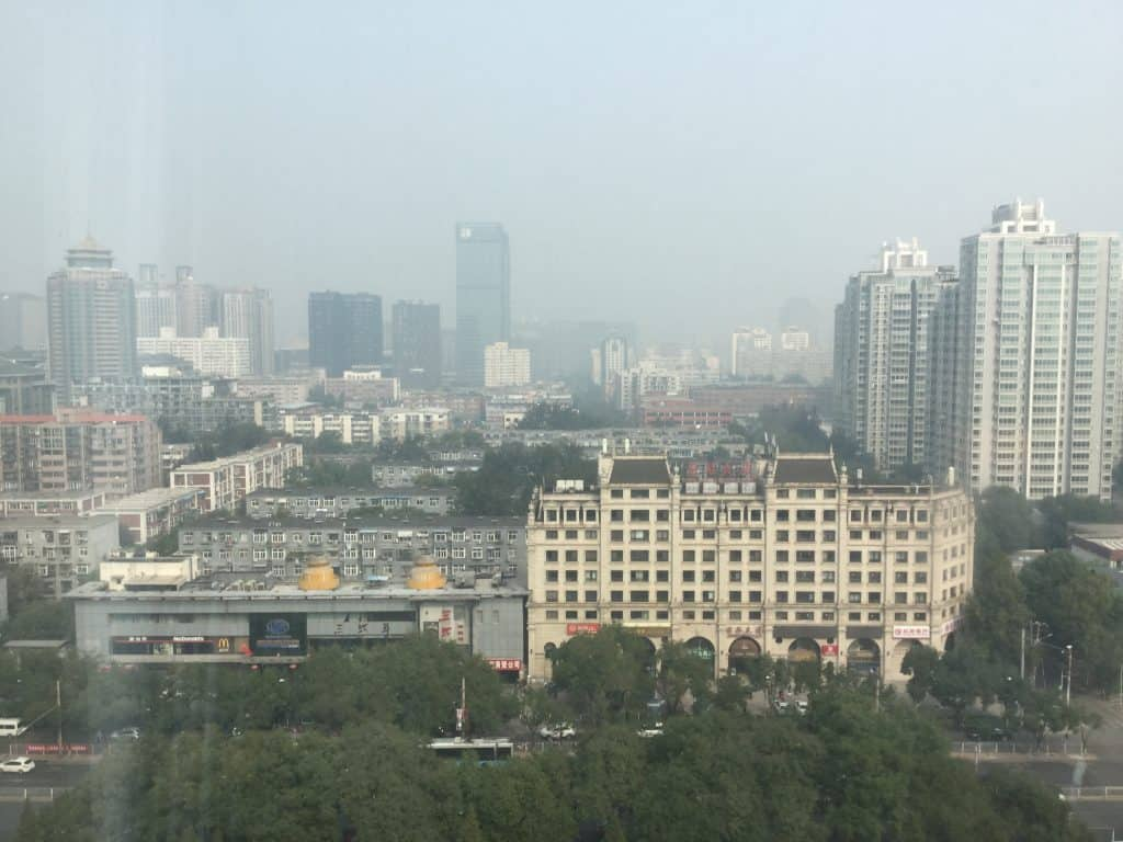 The view from my room. Both days heralded really, really bad smog.