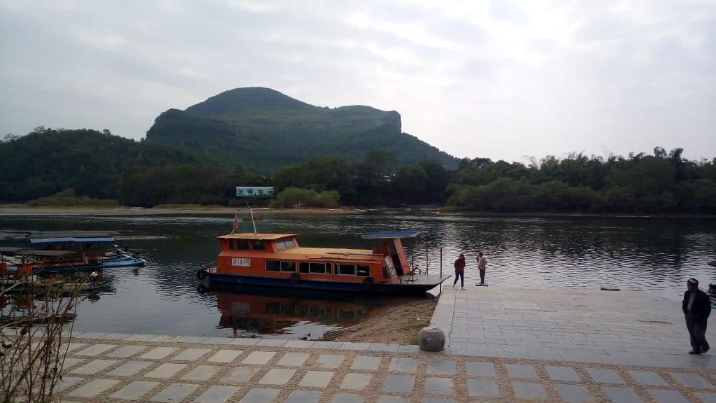 The ferry to Maozhou Island which is in the background.