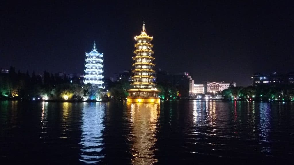 Sun and Moon pagodas on the Guilin Lakes